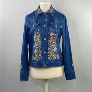 Coldwater creek embroidery denim jacket, small
